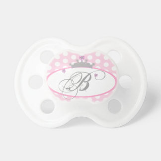Personalized Pink Polka Dot Princess Pacifier