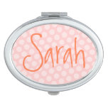 Personalized Pink Polka Dot Vanity Mirror