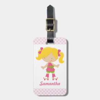 Personalized Pink Polka Dots Blonde Roller Skating Bag Tag
