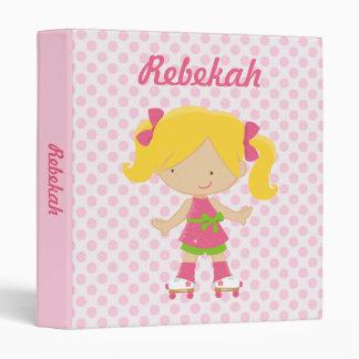 Personalized Pink Polka Dots Blonde Roller Skating Vinyl Binders
