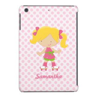 Personalized Pink Polka Dots Blonde Roller Skating iPad Mini Retina Case