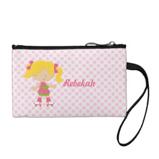 Personalized Pink Polka Dots Blonde Roller Skating Change Purse