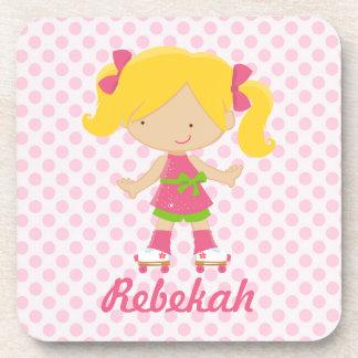 Personalized Pink Polka Dots Blonde Roller Skating Coaster