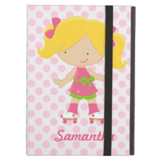 Personalized Pink Polka Dots Blonde Roller Skating iPad Case