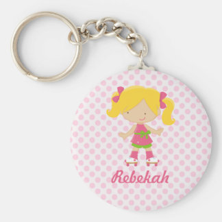 Personalized Pink Polka Dots Blonde Roller Skating Keychain