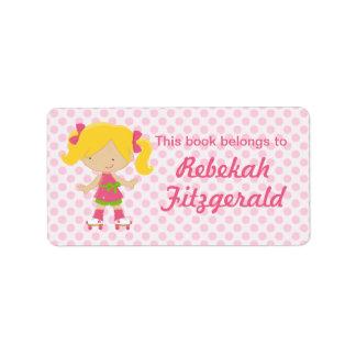 Personalized Pink Polka Dots Blonde Roller Skating Labels