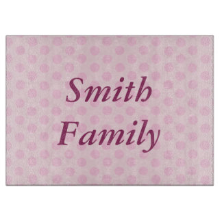 Personalized Pink Polka Dots Cutting Board