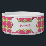 "Personalized pink polkadots dog bone pet food bowl<br><div class=""desc"">This ceramic dog food bowl has a pink,  fuchsia,  green,  and white large polka dot pattern in the background.  In the middle,  there is a large white bone with an easily customized name of your doggie written in hot pink.</div>"