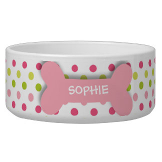 Personalized pink polkadots dog bone pet food bowl