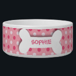 "Personalized pink polkadots dog bone pet food bowl<br><div class=""desc"">This ceramic dog food bowl has a pink,  fuchsia,  and white polka dot pattern in the background.  In the middle,  there is a large white bone with an easily customized name of your doggie written in hot pink.</div>"