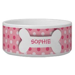 Personalized pink polkadots dog bone pet food bowl