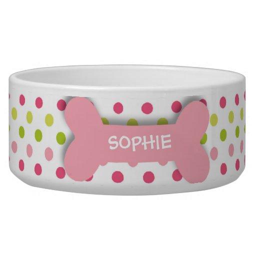 Personalized pink polkadots dog bone pet food bowl dog water bowls