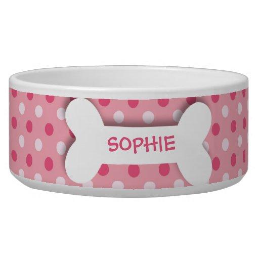 Personalized pink polkadots dog bone pet food bowl dog bowls