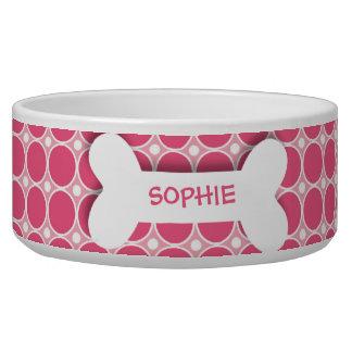 Personalized pink polkadots dog bone pet food bowl dog food bowl