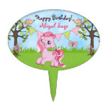 Personalized Pink Pony Happy Birthday Cake Topper