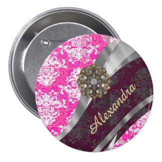 Personalized pink pretty girly damask pattern 3 inch round button