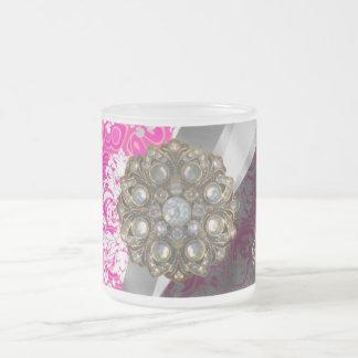 Personalized pink pretty girly damask pattern frosted glass coffee mug