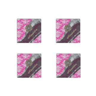 Personalized pink pretty girly damask pattern stone magnet