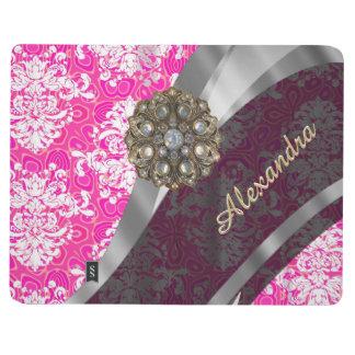 Personalized pink pretty girly damask pattern journal