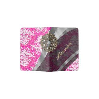 Personalized pink pretty girly damask pattern passport holder