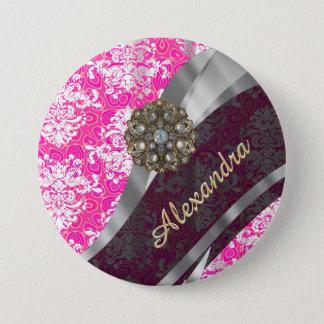 Personalized pink pretty girly damask pattern pinback button