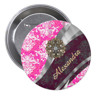 Personalized pink pretty girly damask pattern pinback button