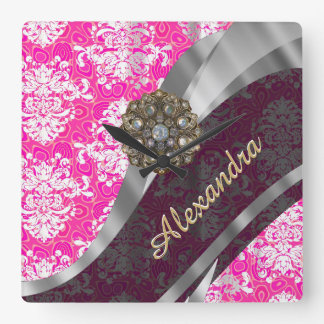 Personalized pink pretty girly damask pattern square wall clock