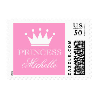 Personalized pink princess baby shower stamps