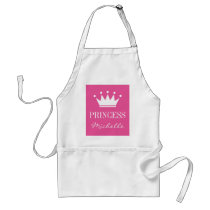 Personalized pink princess crown apron for women