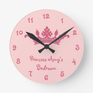 Personalized Pink Princess Girl's Bedroom Round Clock