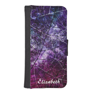 Personalized Pink Purple Crackled Lacquer Texture Wallet Phone Case For iPhone SE/5/5s
