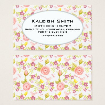 Professional Business Personalized Pink Purple Floral  Mother's Helper Business Card