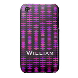 Personalized pink purple harlequin pattern iPhone 3 cover