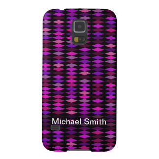 Personalized pink purple harlequin pattern galaxy s5 cases
