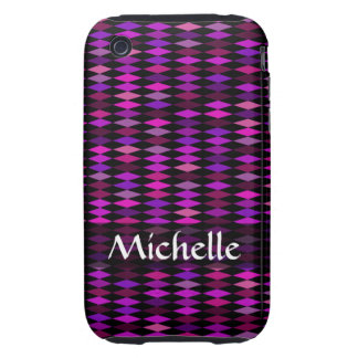 Personalized pink purple harlequin pattern tough iPhone 3 cases