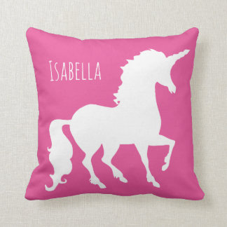 Personalized Pink Purple Unicorn Silhouette Girly Throw Pillow