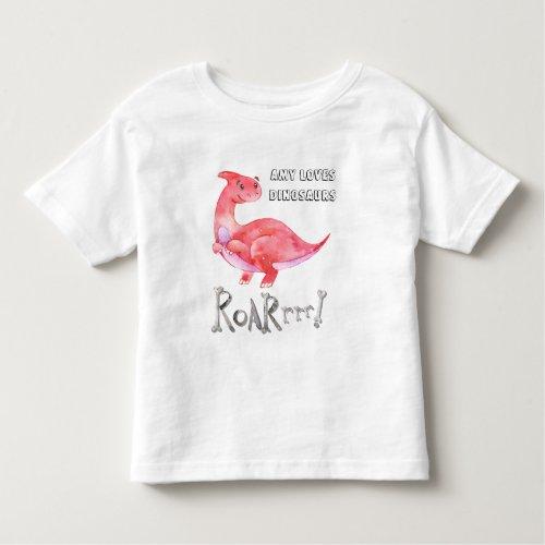 Personalized Pink Raptor Dinosaur Toddler T_shirt