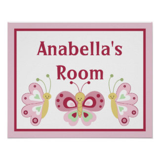 Personalized Pink Raspberry Butterflies Poster