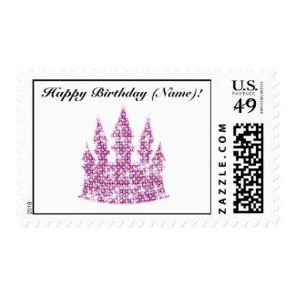 Personalized Pink Rhinestone Cinderella Castle Postage Stamps