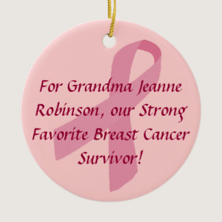 Personalized Pink Ribbon Breast Cancer Ornaments