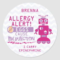 Personalized Pink Robot Egg Allergy Alert Classic Round Sticker
