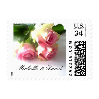 Personalized pink rose flower wedding stamps