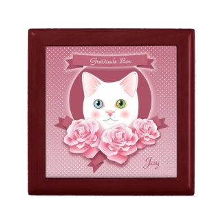 Personalized Pink Roses Cat Gratitude Box Trinket Box