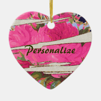 Personalized Pink Roses Torn Heart Ornament