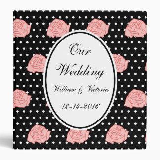 Personalized Pink Roses Wedding Scrapbook Binder