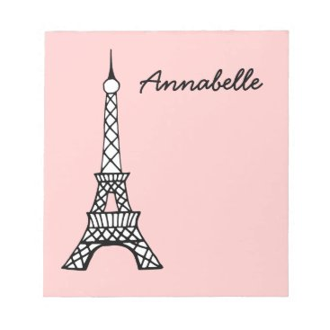 Beach Themed Personalized Pink School Eiffel Tower Notepad Gift
