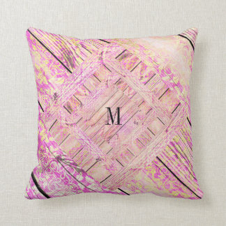 Personalized Pink Shabby Pastel Monogram Pillow