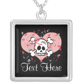Personalized Pink Skull Necklace