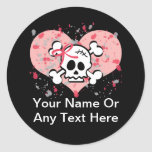 Personalized Pink Skull Stickers