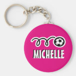 Personalized pink soccer ball keychain for girls